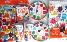 ART PARTY Painting Birthday Party Supply DELUXE Kit w/ Loot Bags & Invitations