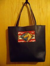 COWGIRL HORSE PURSE TOTE HAND BAG BLACK FAUX LEATHER  NEW HANDCRAFTED FEATURES