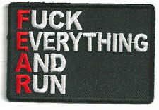 FUKC EVERYTHING AND RUN - IRON ON PATCH