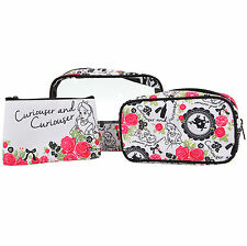 Disney Alice in Wonderland Curiouser 3-Piece Makeup Bag Cosmetic Purse Tote Set