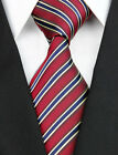 NE118 Red Navy Stripe New Jacquard Woven 100%Silk Classic Necktie Man's Tie