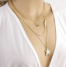 Womens Mixed Star Bead Charm Gold Plated Chain Pendant Collar Bib Necklace