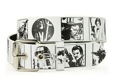 MUST SEE! STAR WARS FORCE (GOOD GUYS CHARACTERS)  WHITE BONDED LEATHER BELT S/M