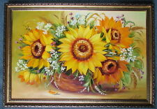Oil Painting of Sunflowers in Vase, Grains, Framed & Signed on Canvas