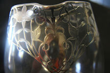 Vintage Art Nouveau Pitcher with Sterling Silver Overlay