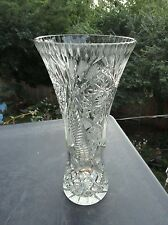 Vintage Waterford Cut Glass Crystal Vase Starburst Pattern Eames Era Fluted Top