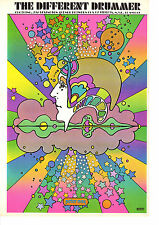Vintage Peter Max Poster Print, 1960s Psychedelic Hippie The Different Drummer
