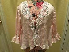VINTAGE 1970'S EVE STILLMAN PASTEL PINK LINGERIE BED JACKET LACE PEARLS