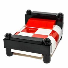 LEGO Furniture: Bed w/ Black Boards & White/Red Bedding  -  Parts + Instructions