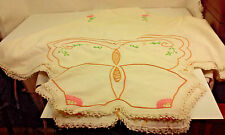 "VINTAGE 1950s EMBROIDERED BUTTERFLY AND FLOWERS TABLE CLOTH 41"" BY 44"""