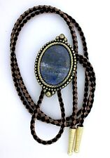 Natural Oval 40x30 Lapis Lazuli Cab Cabochon Gemstone Bola Bolo Tie Cord Tips