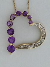 Genuine Amethyst Diamond Heart Pendant 10kt Yellow Gold