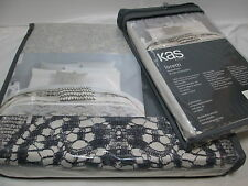 2 Piece Set KAS Australia LORETTI Twin Duver Cover & Sham Set ~ Grey/Neutral NEW