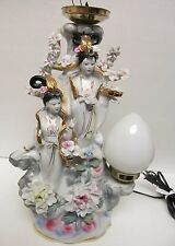 "Chinese Asian Oriental Japan Porcelain Vtg Lamp Floral Geisha Large 16"" Electric"