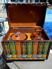 "RARE Vntge ""Leather"" Bound Books Liquor Chest Box Decanter Ice Bucket Cups JAPAN"
