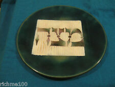 Israel Hand Made Jewish Passover Matzah Plate Green Enamel on Copper Judaica