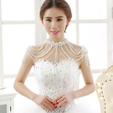 Bridal Crystal Pearl Necklace Pendant Jewelry Wedding Shoulder/Body Chain Strap