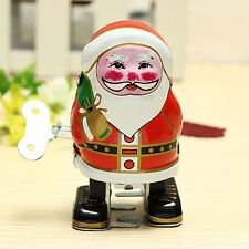 Vintage Wind Up Tin Toy Clockwork Spring Santa Claus Classic Retro Toy