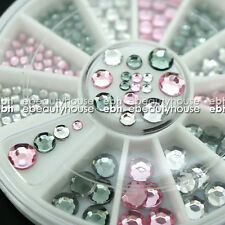 3 Colors 4 Sizes Acrylic Nail Art Decoration Glitter Rhinestones + Wheel #EB-058