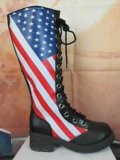 Black Red White & Blue American Flag Knee High Boots Size 9 1/2