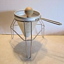 Vintage Aluminum Tomato Strainer Sieve Juicer Canning Supply & Wood Pestle