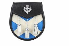 NEW SCOTTISH FLAG  3 TASSLES SCOTTISH CELTIC KILT REAL COW HIDE LEATHER SPORRAN