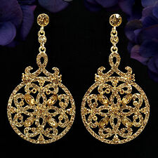 18K Gold Plated GP Topaz Crystal Rhinestone Chandelier Drop Dangle Earrings 6087