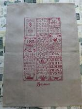 Sajou Vintage Style Natural French Linen Tea Towel- Vintage Cross Stitch Sampler