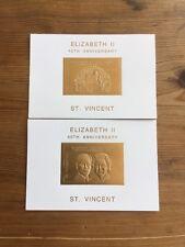 2 Briefmarken st vincent 1992. 10$ vergoldet. Elizabeth II. Thronbesteigung.