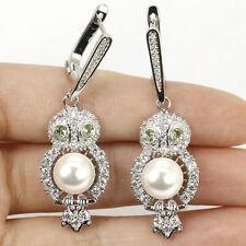 Owl Green Tsavorite Garnet, White Pearl, CZ SheCrown Silver Earrings Gift