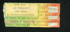 1980 Jack Bruce concert ticket stub Park West Chicago