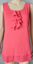 New M&S Marks and Spencer Twiggy size 16 Pink Ruffle Top Blouse Vest Cami