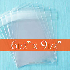 "100 Clear Cello Bags, 6.5 x 9.5 inch OPP Poly, Resealable Flap; 6 1/2"" x 9 1/2"""