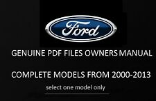 FREE GENUINE FORD OWNERS MANUAL PDF FORMAT 2000-2016 MODELS