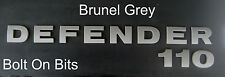Raised 3D Badge DEFENDER 110 Lettering Decal BRUNEL GREY SelfAdhesive Land Rover