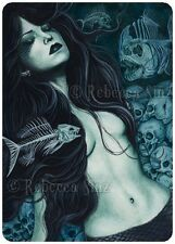 Gothic Fantasy Art ACEO PRINT MERMAID skulls fish skeletons dark death undersea