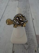 Antique Brass Tone Turtle Ring w/ Clear Rhinestones Stretch Back NWT