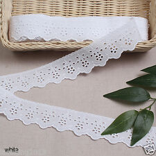 "3Yds Broderie Anglaise eyelet cotton lace trim 1.8""(4.5cm) white yh409w laceking"