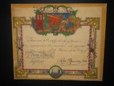 Volunteer Fireman Appointment 1787 New York City Certificate Document Fire Truck