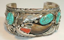 SIGNED Vintage NAVAJO Sterling Silver Turquoise Coral & Faux Claw Cuff Bangle