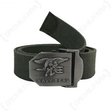 US NAVY SEAL BELT - OLIVE - American Military Canvas Buckle Combat Adjustable