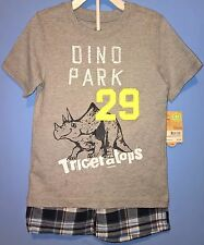 New Toddler Boy 4T Carter's Triceratops Tee & Plaid Shorts 2 Pc Lot Mix NWT $28