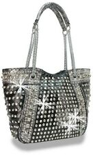 Multiple  Rhinestone and Stud Accented Metallic Fashion Handbag Black