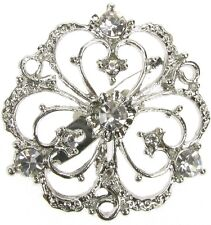 SILVER BROOCH DIAMANTE VINTAGE FLOWER SHOE PIN BRIDAL CAKE DECORATION  NEW  UK