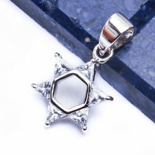 CZ STAR OF DAVID  .925 Sterling Silver Pendant .75""