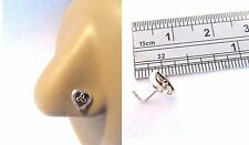 Sterling Silver Nose Stud Pin Ring L Shape Celtic Open Heart 20g 20 gauge