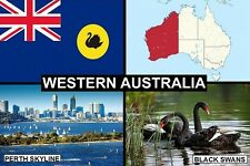 SOUVENIR FRIDGE MAGNET of THE STATE OF WESTERN AUSTRALIA & PERTH