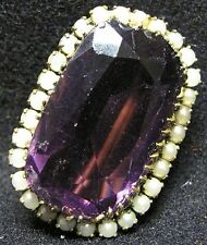 Victorian Amethyst and Seed Pearl on Gold Pendant