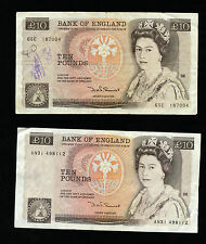 England Great Britain Two 10 Pound Series D Sommerset Bank of England Notes