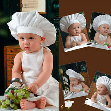 1 Set Cute White Baby Photography Clothing Newborn Chef Clothes Prop Outfit